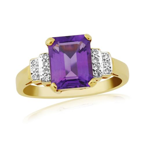 Octaganal Cut Amethyst And Diamond Gold Dress Ring